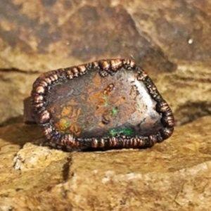 Boulder opal in matrix ring